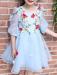abordables -Robe Fille de Anniversaire Fleur Polyester Eté Demi Manches Mignon Actif Bleu
