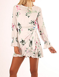 cheap -Women's Daily / Holiday Basic Chiffon Dress - Floral Backless / Print