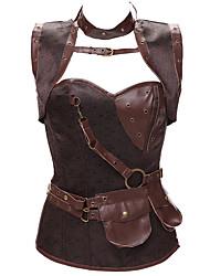 abordables -Rubans / Steampunk Costume Femme Corset Noir / Marron / Argent Vintage Cosplay Cuir / Dentelle Sans Manches Déguisement d'Halloween