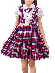 cheap -Girl's Plaid/Check Dress, Cotton Summer Fall Short Sleeves Check Red