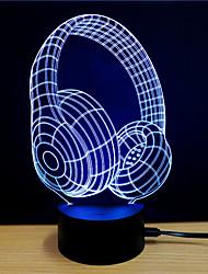 Недорогие -3D ночной свет Поменять USB Стресс и тревога помощи / Меняет цвета / Креатив 5 V 3D