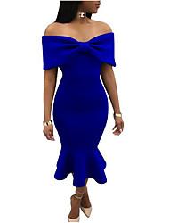 Недорогие -Жен. Тонкие Облегающий силуэт Платье - Однотонный Без бретелей Средней длины