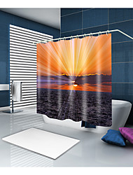 cheap -Shower Curtains & Hooks Casual Mediterranean Polyester Solid Colored Novelty Machine Made Waterproof Bathroom