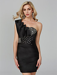 cheap -Sheath / Column One Shoulder Short / Mini Satin Cocktail Party / Homecoming Dress with Beading Crystal Detailing Side Draping by TS