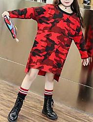 preiswerte -Kinder Mädchen Einfach Patchwork Lang Baumwolle Bluse