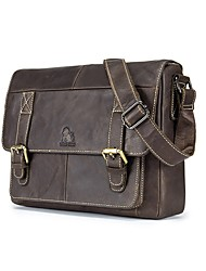 cheap -Men's Bags Leather Shoulder Bag Zipper Dark Brown