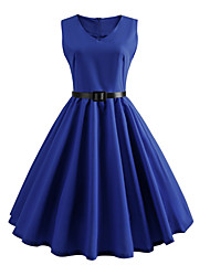 cheap -Women's Sophisticated Street chic Swing Dress - Solid Colored