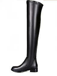 povoljno -Žene Cipele Koža Zima Modne čizme Udobne cipele Čizme Ravna potpetica Čizme preko koljena za Kauzalni Crn