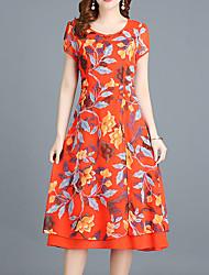 cheap -Women's Plus Size Going out Sophisticated Slim Sheath Chiffon Dress - Floral Black, Print