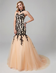 cheap -Mermaid / Trumpet High Neck Court Train Lace / Tulle See Through / Color Block Formal Evening Dress with Appliques / Lace by TS Couture®