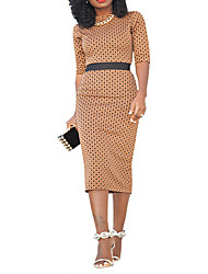 abordables -Femme Basique Chic de Rue Moulante Robe Points Polka Mi-long