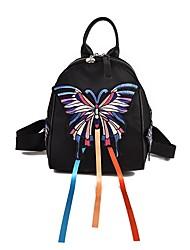 """Недорогие -Жен. Мешки Ткань """"Оксфорд"""" рюкзак Вышивка / Молнии для на открытом воздухе Черный"""