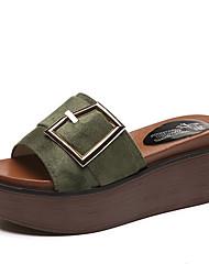 baratos -Mulheres Sapatos Camurça Primavera Conforto Chinelos e flip-flops Sem Salto Ponta Redonda Preto / Verde