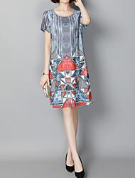 povoljno -Žene Jednostavan Majica Haljina - Print Kolaž, Color block Iznad koljena