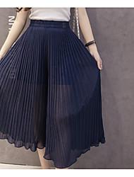 cheap -Women's Cute Wide Leg Pants - Solid Colored