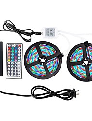 cheap -ZDM® 2x5M RGB Strip Lights 600pcs LEDs 1 44Keys Remote Controller 1 x 12V 3A Adapter 1 AC Cable RGB Cuttable Waterproof Self-adhesive