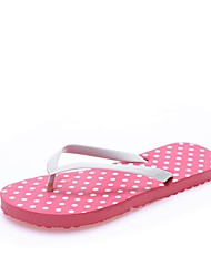 preiswerte -Damen Schuhe Kunstleder Sommer Vulkanisierte Schuhe Komfort Slippers & Flip-Flops Flacher Absatz Offene Spitze für Normal Gelb Rot Grün