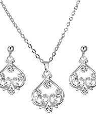 cheap -Women's Cubic Zirconia Heart Jewelry Set 1 Necklace / Earrings - Elegant / Fashion / European Silver Hoop Earrings / Choker Necklace For