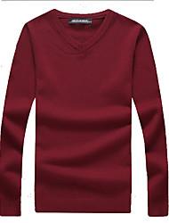 Недорогие -Муж. выходные Активный Длинный рукав Тонкие Пуловер - Однотонный V-образный вырез