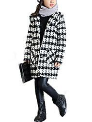Недорогие -Девочки Куртка / пальто Шерсть Хлопок Шахматка Зима Осень Длинный рукав Классический Классический и неустаревающий Винтажная коллекция