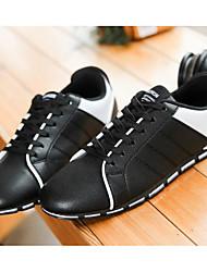 billige -Herre Sko PU Forår Efterår Komfort Sneakers for Afslappet Hvid Sort