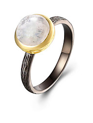 cheap -Women's Band Ring Moonstone Silver S925 Sterling Silver 18K Gold Plated Circle European Gift Daily Costume Jewelry