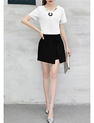 povoljno -Žene Majica - Jednobojni Suknja