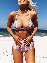 abordables -Femme Bikinis Rayé Taille haute
