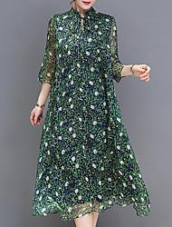 cheap -Women's Plus Size Going out Holiday Basic Loose Sheath Swing Dress - Geometric Print