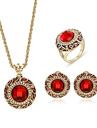 cheap -Women's Zircon / Gold Plated Jewelry Set 1 Necklace / 1 Ring / Earrings - Vintage / Fashion Circle / Geometric Red Jewelry Set / Stud