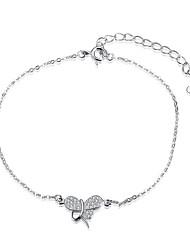 abordables -Femme Zircon S925 argent sterling Forme de Noeud 1pc Chaînes & Bracelets - Mode Forme de Noeud Argent Bracelet Pour Cadeau Quotidien