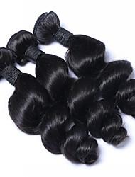 Недорогие -3 Связки Бразильские волосы Волнистый Натуральные волосы Накладки из натуральных волос Ткет человеческих волос Естественный цвет Расширения человеческих волос Жен.