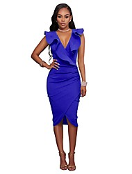 cheap -Women's Plus Size Going out Petal Sleeves Cotton Slim Bodycon Dress - Solid Colored Blue, Split Deep V / Summer / Ruffle