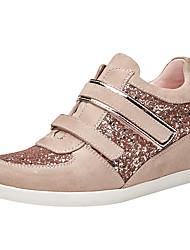 abordables -Mujer Zapatos Lentejuelas / Cuero Primavera / Otoño Confort Zapatillas de deporte Tacón Cuña Punta cerrada Lentejuela Negro / Rosa