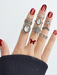 Недорогие -Ring Set - 9pcs Круглый Свисающие Цветы Классический Мода Серебряный Кольцо Назначение Повседневные Свидание