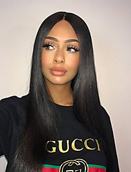 cheap -Remy Human Hair Lace Front Wig Wig Brazilian Hair Straight 150% Density With Baby Hair / Natural Hairline / With Bleached Knots Women's Short / Long / Mid Length
