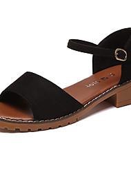preiswerte -Damen Schuhe PU Sommer Komfort Sandalen Blockabsatz für Weiß Schwarz Grau