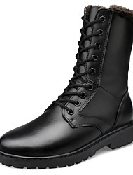 cheap -Women's Shoes Leather Winter Comfort / Fur Lining Boots Low Heel Black