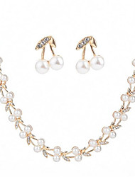 cheap -Women's Pearl Jewelry Set - Imitation Pearl, Zircon Leaf Fashion Include Stud Earrings / Chain Necklace White For Wedding / Evening Party