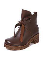povoljno -Žene Cipele Koža Jesen Zima Čizmice Čizme Kockasta potpetica Okrugli Toe Čizme gležnjače / do gležnja Mašnica za Kauzalni Crn Kava