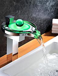 abordables -Robinet lavabo - Jet pluie Tactile / non tactile LED Chrome Vasque Mitigeur un trou