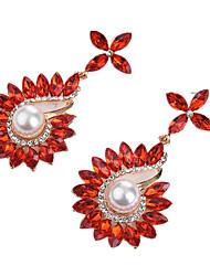 abordables -Femme Zircon Boucles d'oreille goutte - Cristal, Imitation de perle, Zircon Mode, énorme Rouge / Bleu / Champagne Pour Soirée / Sortie
