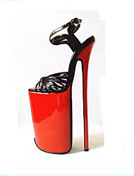 Недорогие -Жен. Обувь на каблуках На шпильке Открытый мыс Полиуретан Туфли лодочки Лето Золотой / Черный / Для вечеринки / ужина