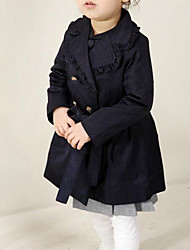 cheap -Girls' Daily Solid Colored Trench Coat, Cotton Spring Fall Long Sleeves Street chic