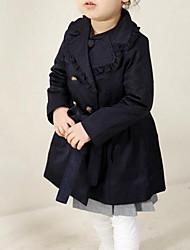 baratos -trench coat colorido sólido diário das meninas, algodão primavera outono mangas compridas street chic