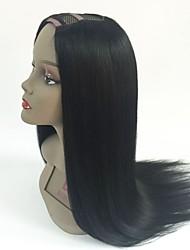 Недорогие -Необработанные U-образный Парик Бразильские волосы Прямой Парик 130% Для темнокожих женщин / Необработанные Черный Жен. Короткие / Длинные / Средняя длина
