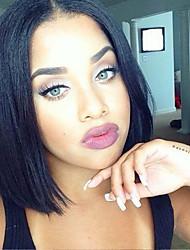 Недорогие -Необработанные Парик Бразильские волосы Прямой Короткий Боб Стрижка боб 130% плотность С детскими волосами Для темнокожих женщин Черный