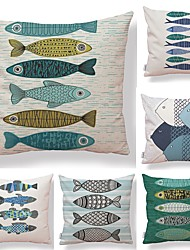 cheap -6 pcs Textile Cotton / Linen Pillow case, Geometric Simple Printing Art Deco / Retro Lovely