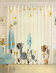 cheap -Curtains Drapes Living Room Cartoon Cotton / Polyester Printed