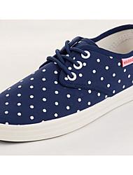 baratos -Mulheres Sapatos Lona Primavera Outono Conforto Tênis Salto Baixo para Casual Preto Azul